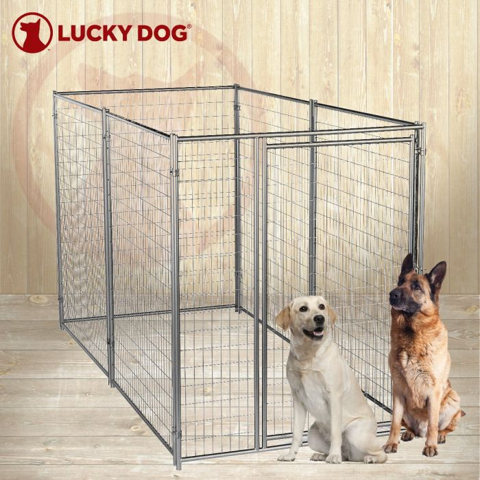 Lucky Dog® 6'H x 5'W x 10'L  Silver Modular Welded Wire Kennel