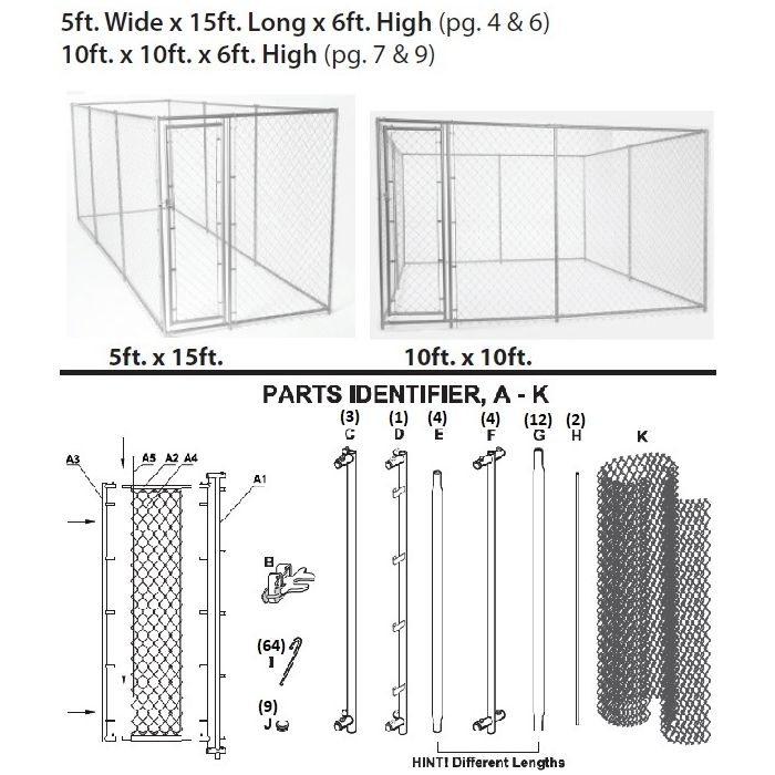 Lucky Dog® 6x10x10 or 6x5x15 Chain Link Kennel Parts