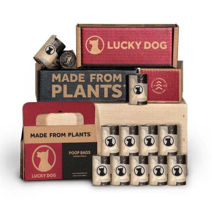 Lucky Dog Compostable Poop Bags | Made From Plants | Corn Based Ingredients | ASTM D6400 Compliant