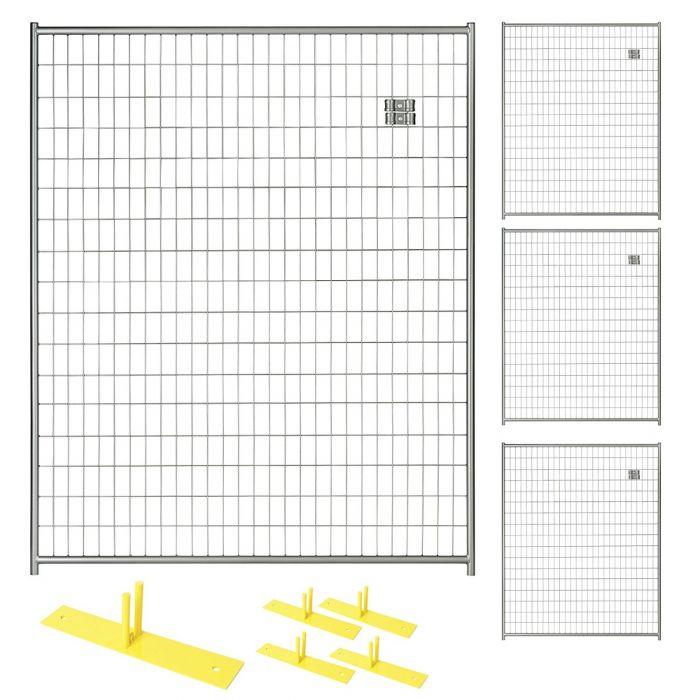 Perimeter Patrol™ Silver Temporary Security Fence Panel Kit