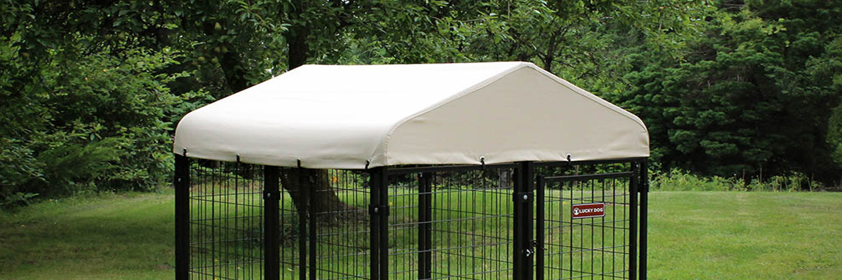Lucky Dog Canopy™ Kennel Cover with Sunbrella® Fabric - Tahitian Sand